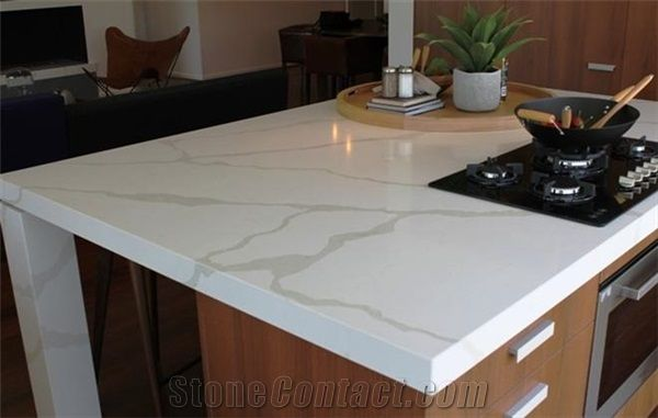 Amazing Luxury Calacatta Gold Quartz Stone Kitchen Countertop