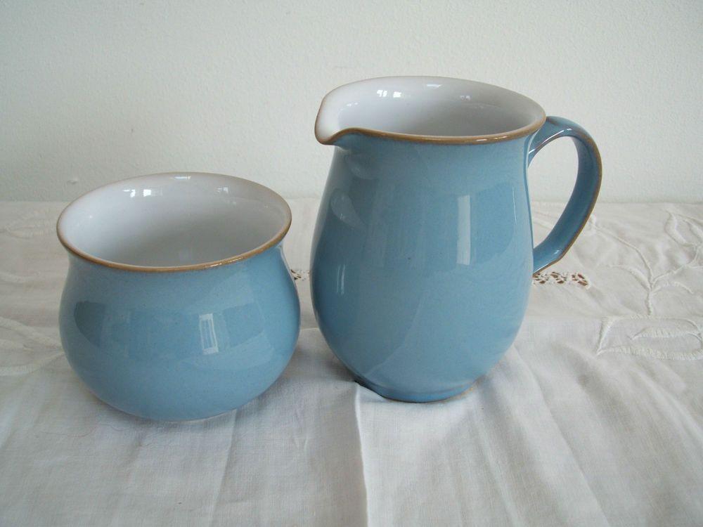 Denby Colonial Blue Milk Jug and open sugar bowl | Denby | Pinterest