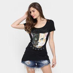 9616983eb Camiseta Colcci Gato Strass - Preto | T-Shirt | Roupas femininas ...