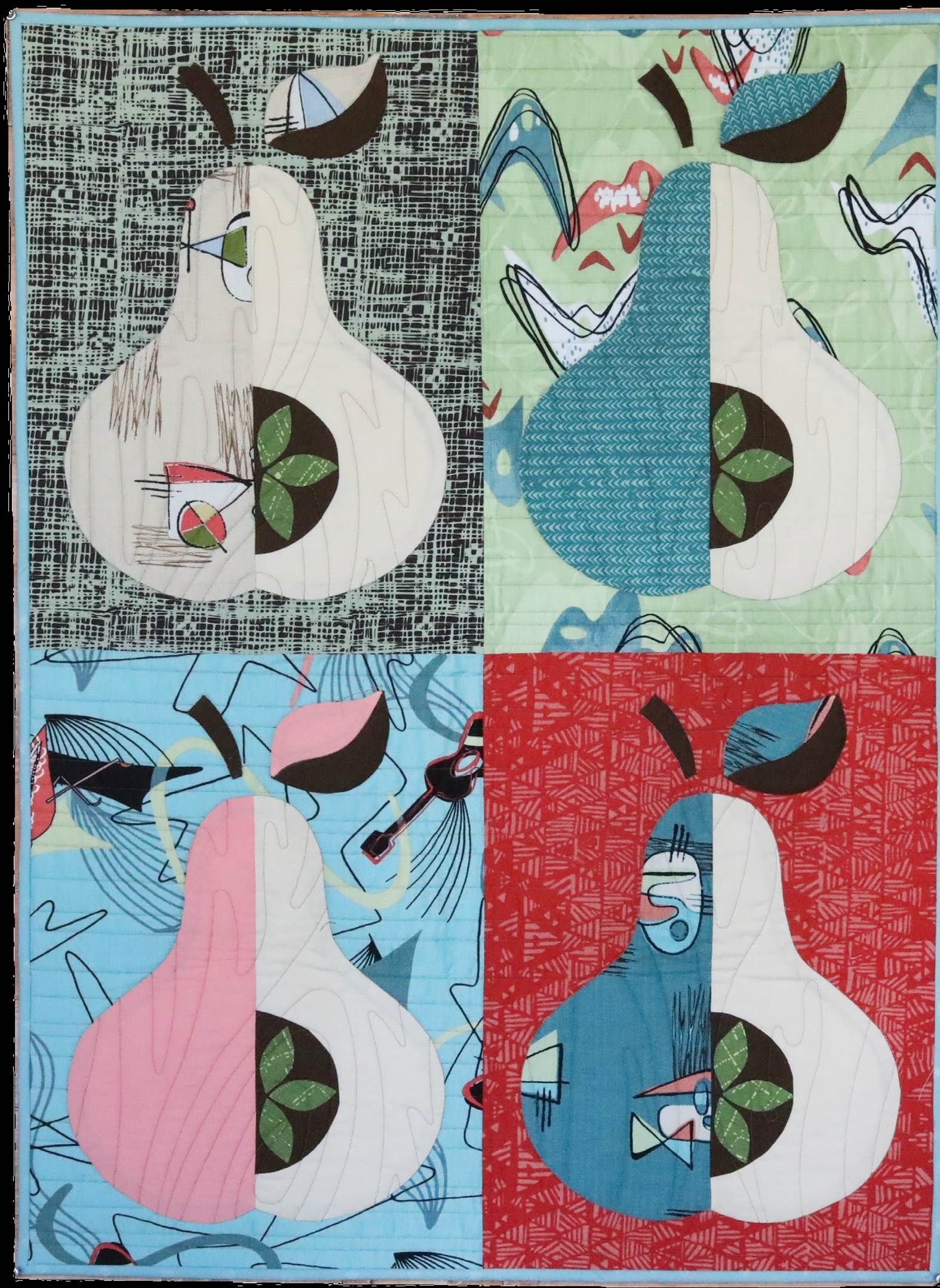 free pattern = New! Mid Century Modern quilt, with giant appliqued ...