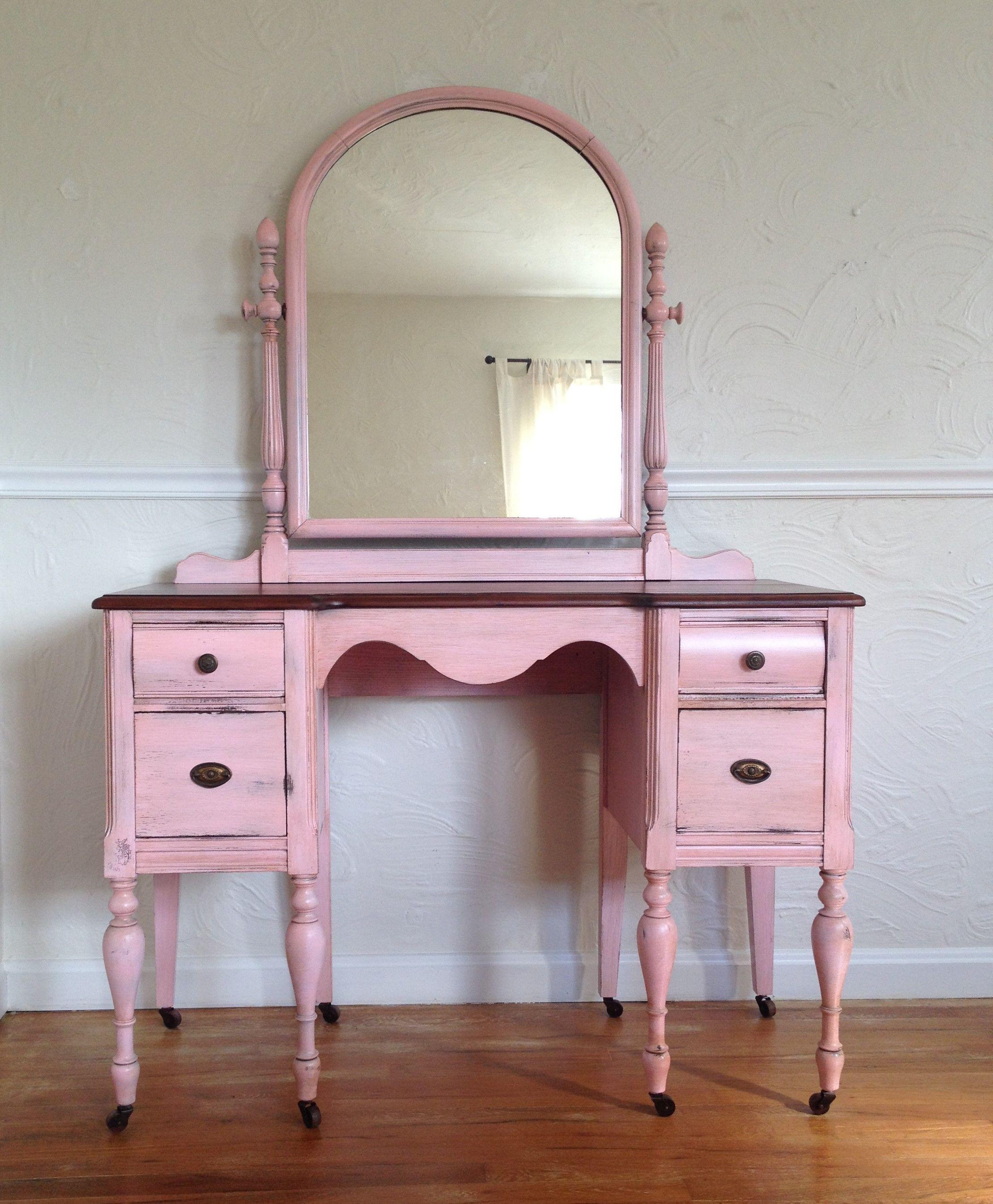 Refurbished Vintage Vanity Dressing Table With Mirror Aged Pink