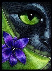 Art: BLACK CAT WITCH HAT WITH FLOWER 1 by Artist Cyra R. Cancel