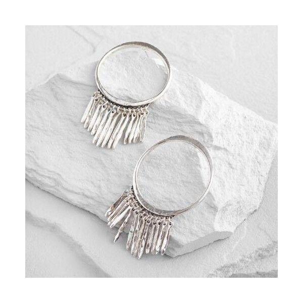 Cost Plus World Market Silver Fringe Hoop Earrings (34 BRL) ❤ liked on Polyvore featuring jewelry, earrings, silver, cost plus world market, fringe earrings, silver jewelry, fringe jewelry and silver hoop earrings