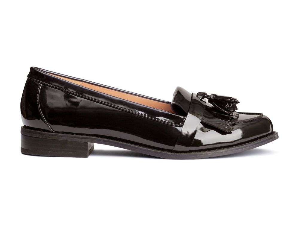 10 Best Men-Inspired Loafers for Women   H&M Patent Loafers