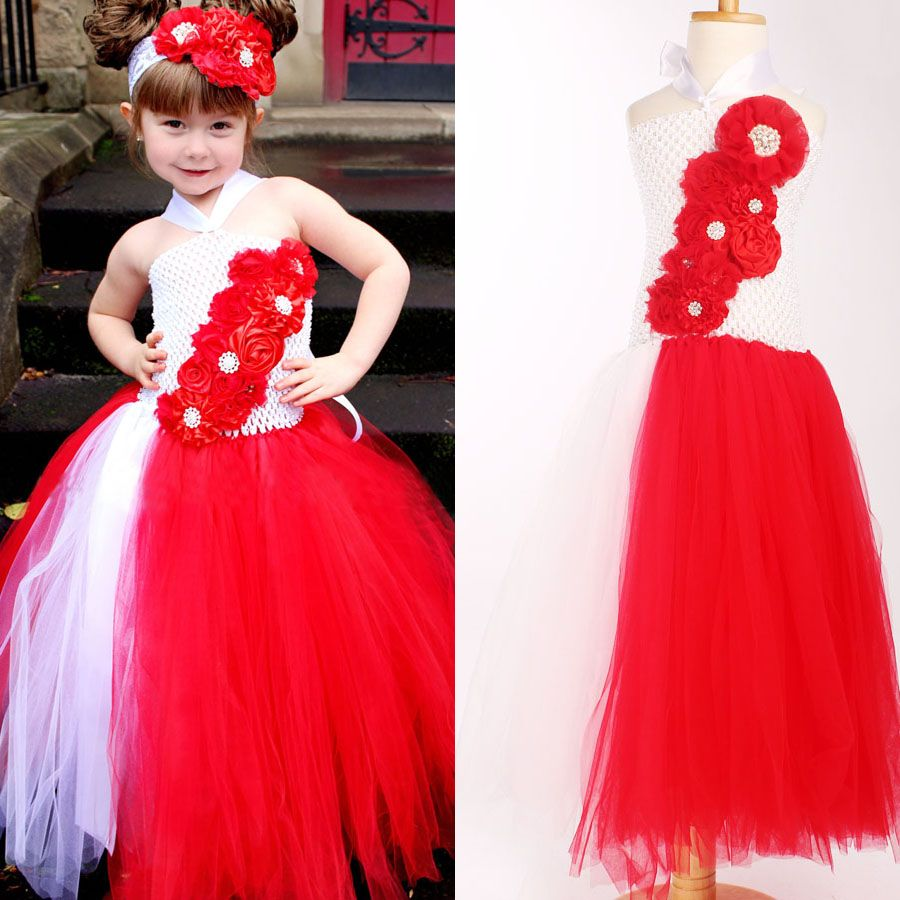 Red and whiter flower girl wedding tutu dress christmas birthday