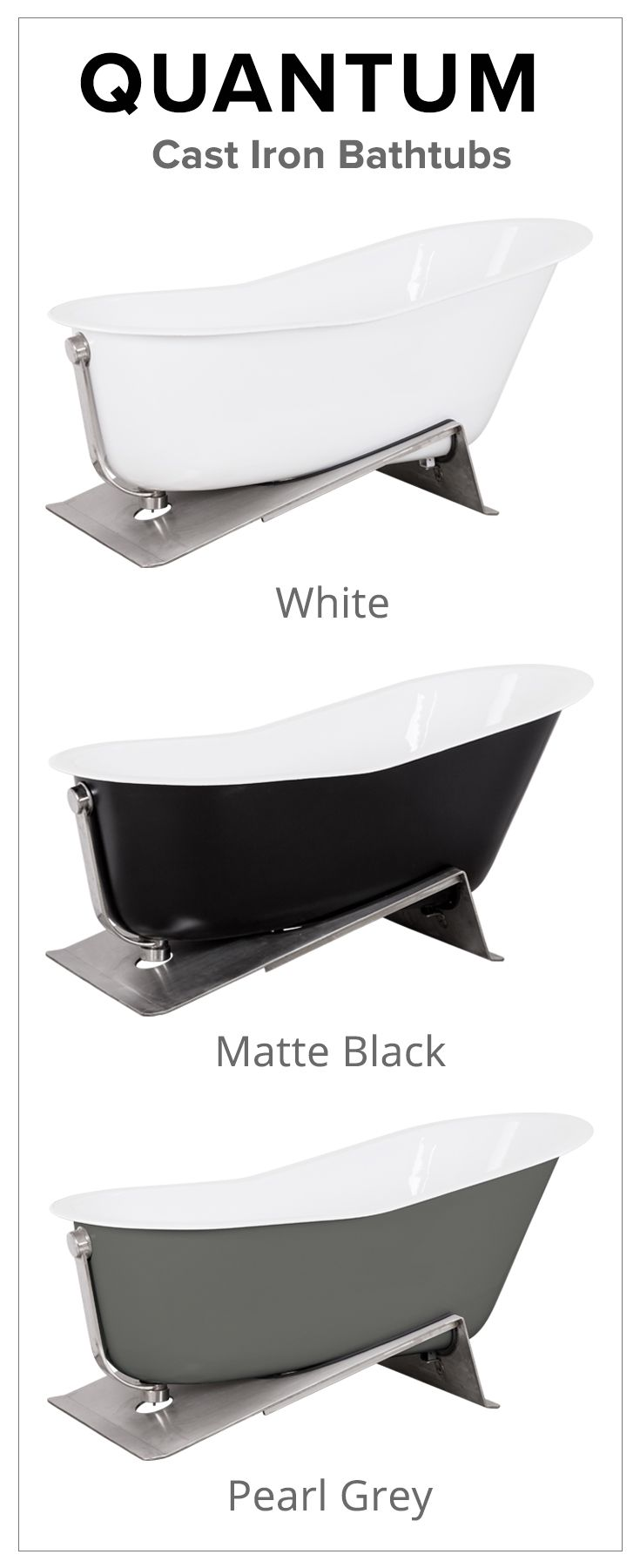 quantum cast iron bathtub with stainless steel base available in white matte black u0026 pearl grey shop schotsu0027 bathtub collection at schots in melbourne