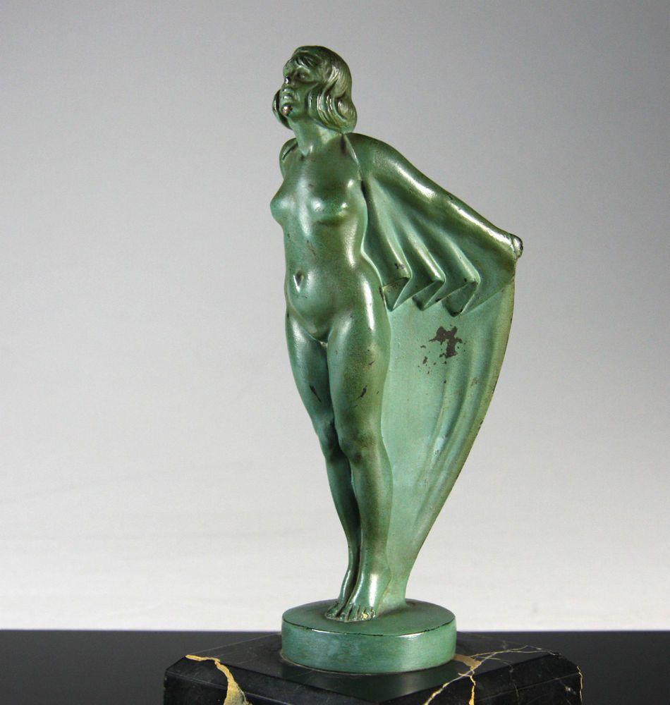 Max Le Verrier Skulptur um 1930 Art Deco Weiblicher Akt Kühlerfigur Mascot