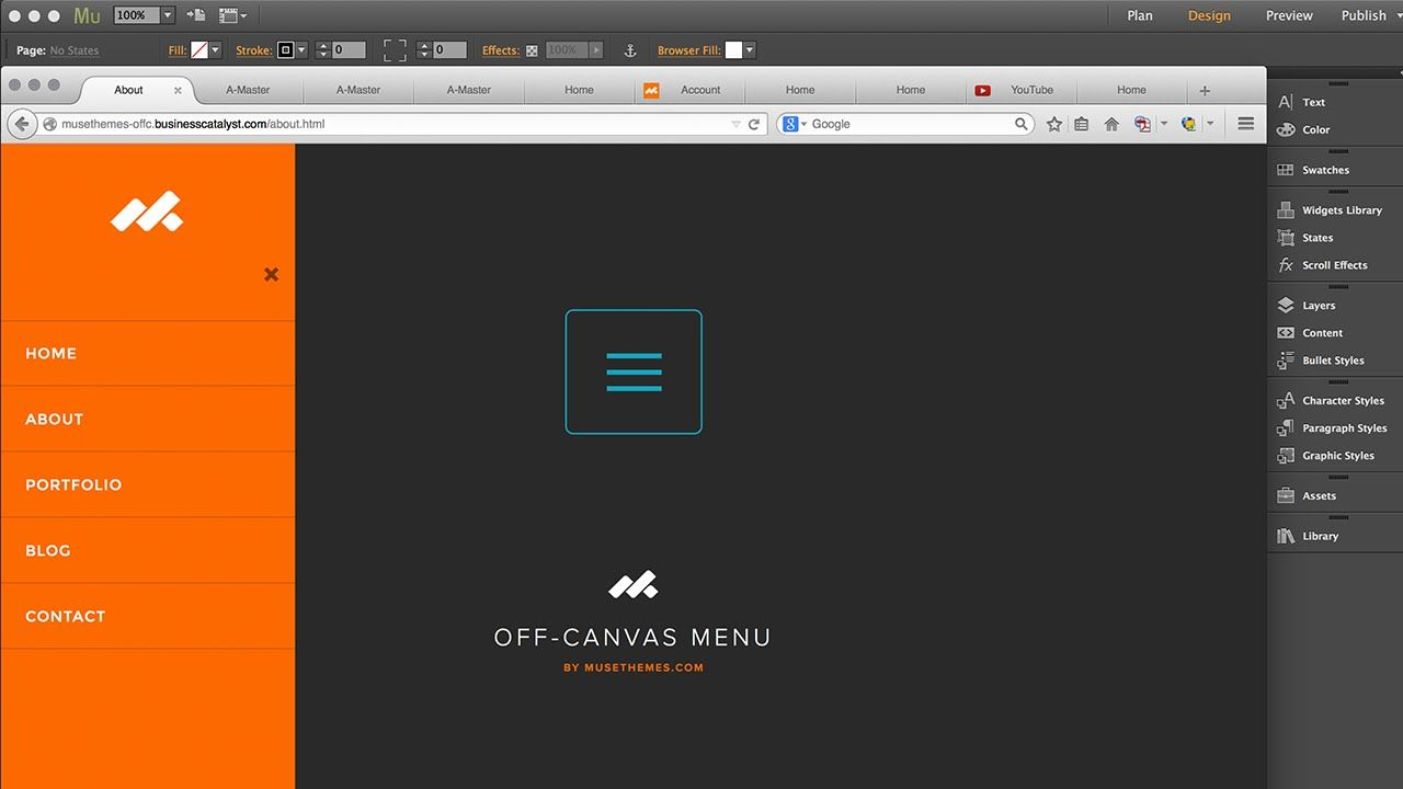 Off Canvas Sidebar Menus In Adobe Muse Cc Widget Training Musethemes Com Adobe Muse Web Design Tutorial
