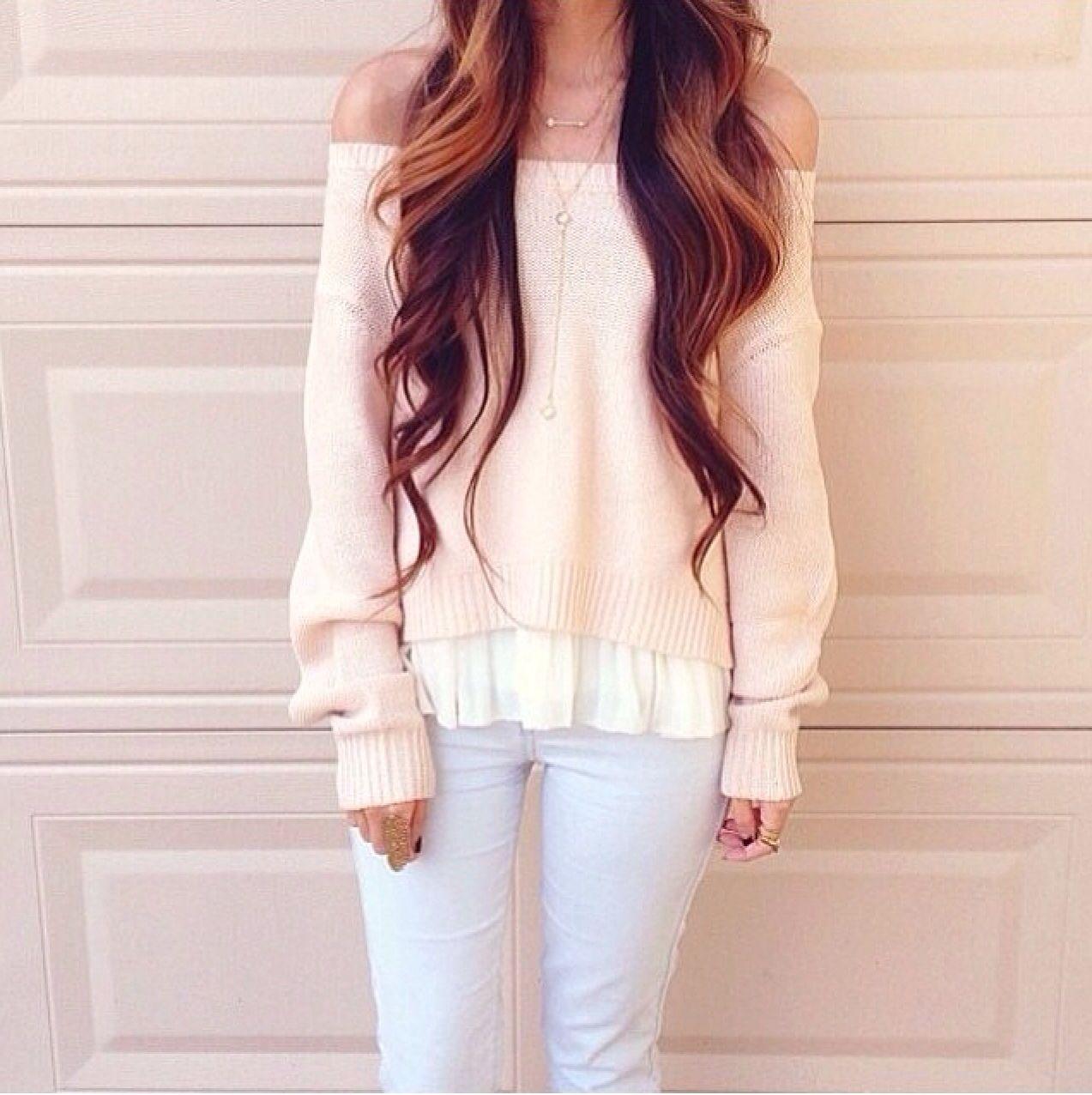 Pink off the shoulder jumper!