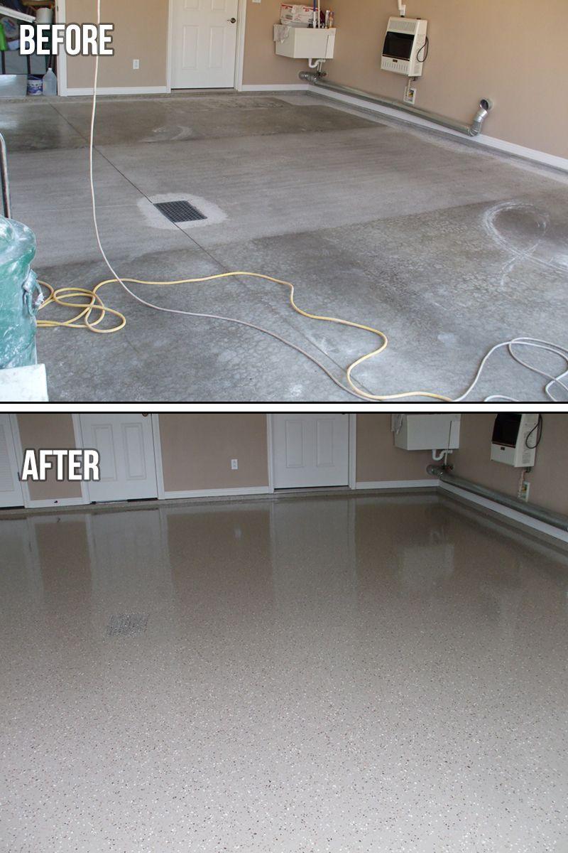 epoxy flake garage floor right corner the protector flakes system rh pinterest com