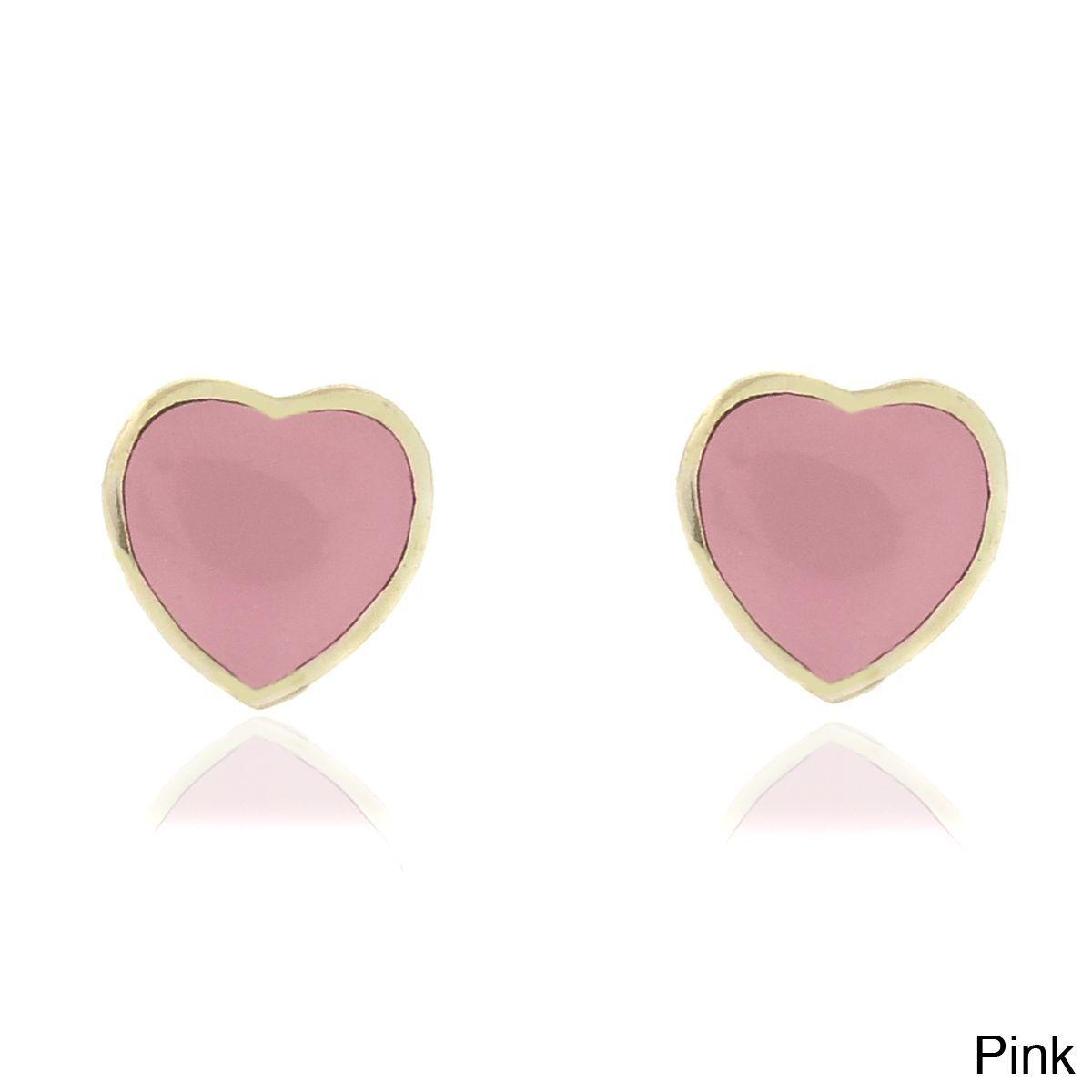 Molly and Emma 18k Gold Overlay Children's Enamel Heart Stud Earrings