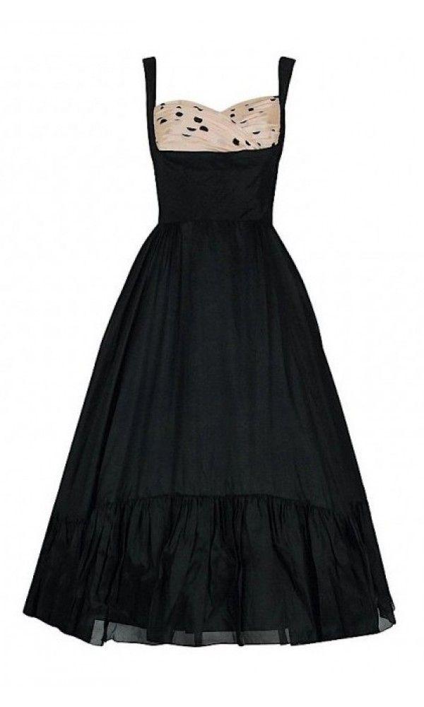 067fccb3932b08 1950's Oleg Cassini Black & Pink Polka-Dot Silk Full Party Dress