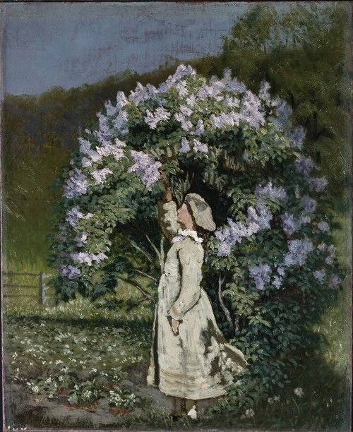 Olaf Isaachsen (Norwegian, 1835-1893). The Lilac Bush.