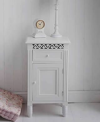 New England White Bedside Cabinet With Drawer And Cupboard