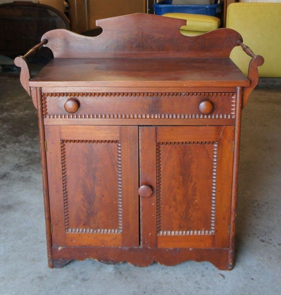 antique victorian era walnut burlwood empire washstand accent table rh pinterest com