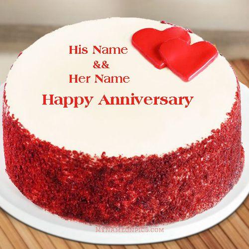 Online Anniversary Cake Red Velvet Little Heart With Name Free