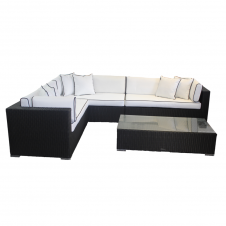 Monaco Rattan Garden Righthand Corner Set In Black And Vanilla Garden Sofa Set Corner Sofa Set Sofa Set