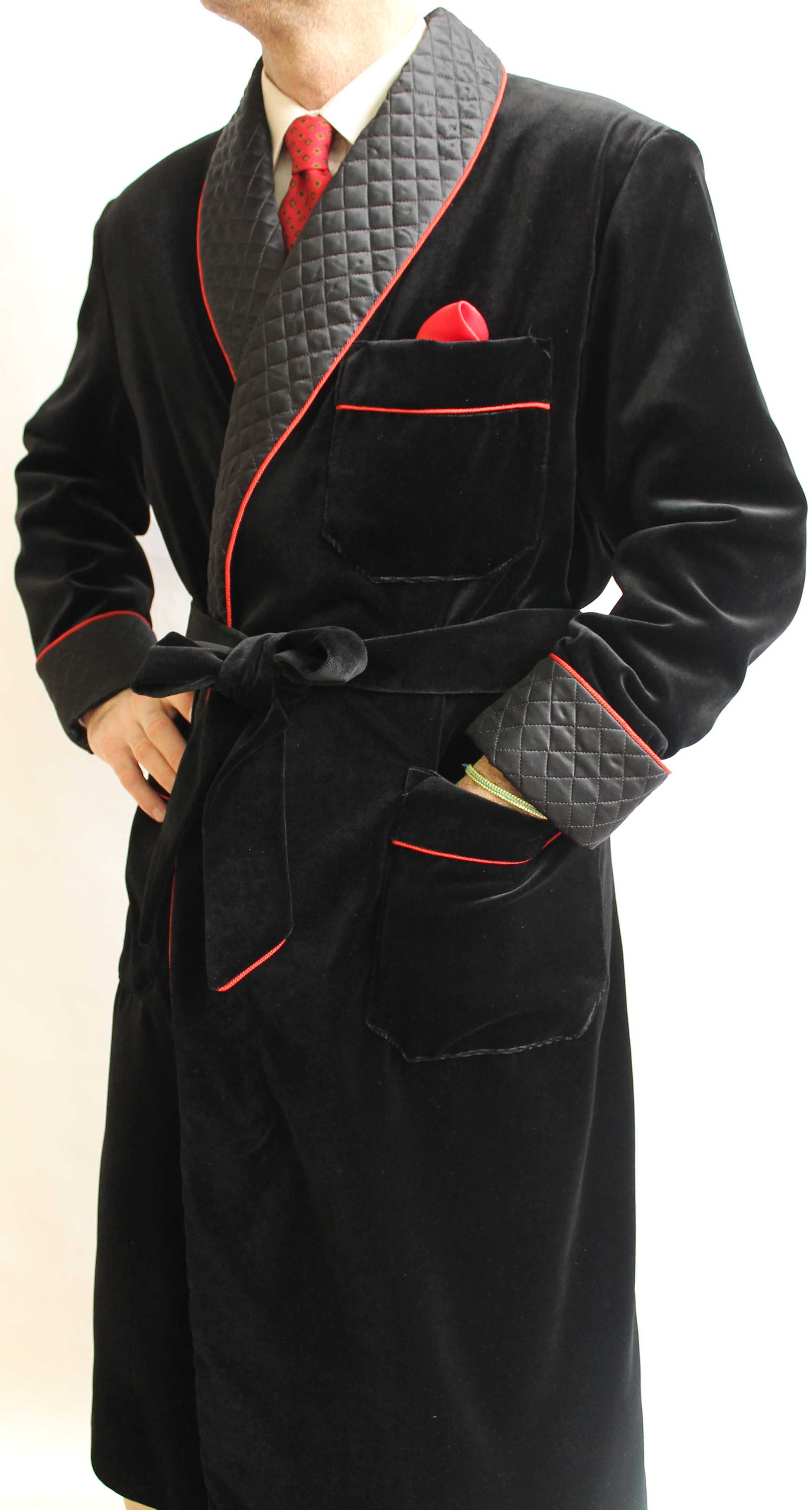 COTTON VELVET CLASSIC DRESSING GOWN FOR MAN FULLY LINED IN BEMBERG ...