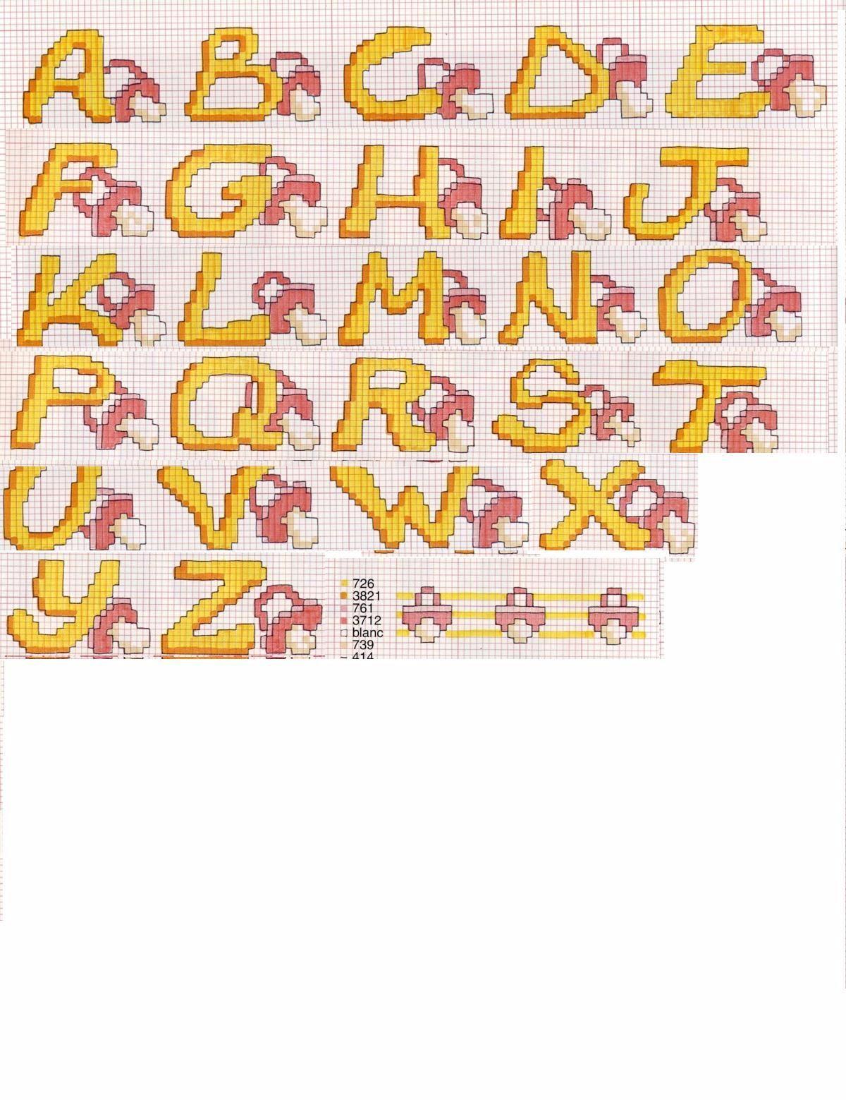 Schema punto croce alfabeto ciuccio progetti da provare for Ricamo punto croce lettere