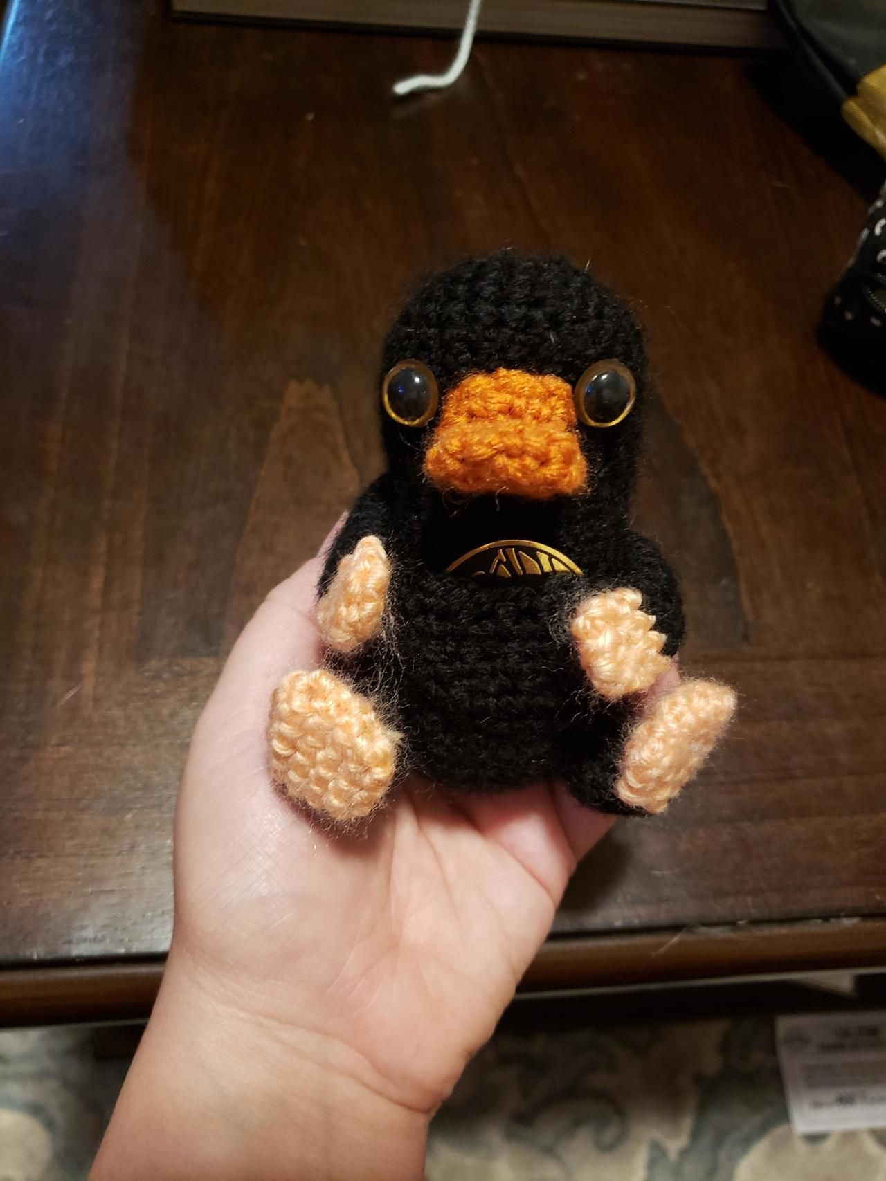 I'm really proud of the Niffler I made tonight with no pattern! by  noodzthecat - #crafts #creative #crochet #diy #handmade