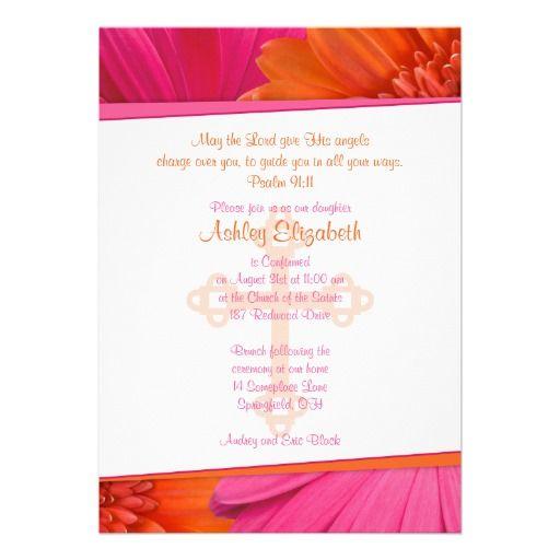 Pink Orange Gerber Daisy Confirmation Invitation