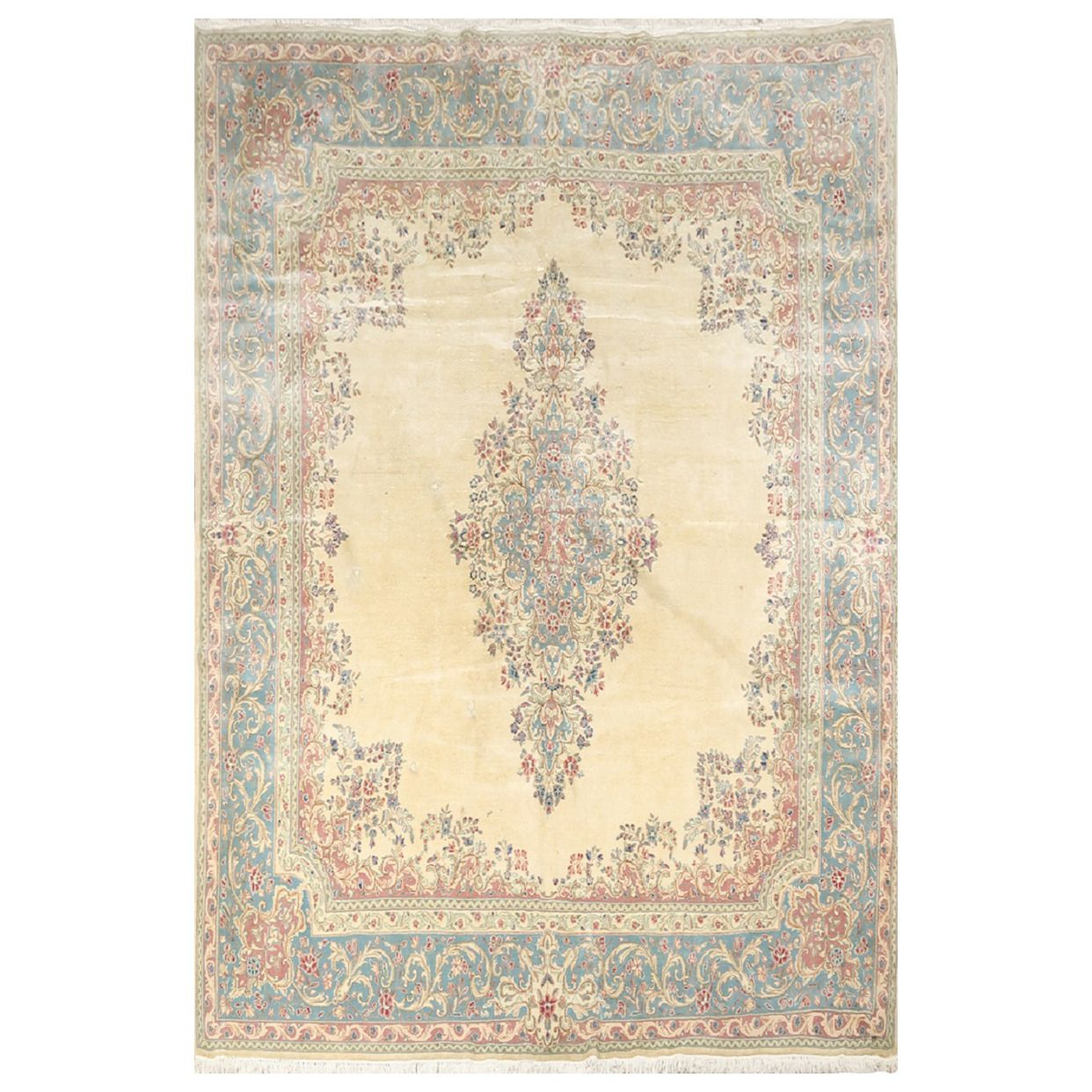 Vintage Persian Kerman Rug With Soft Turquoise Cream And Mauve Colors 1stdibs