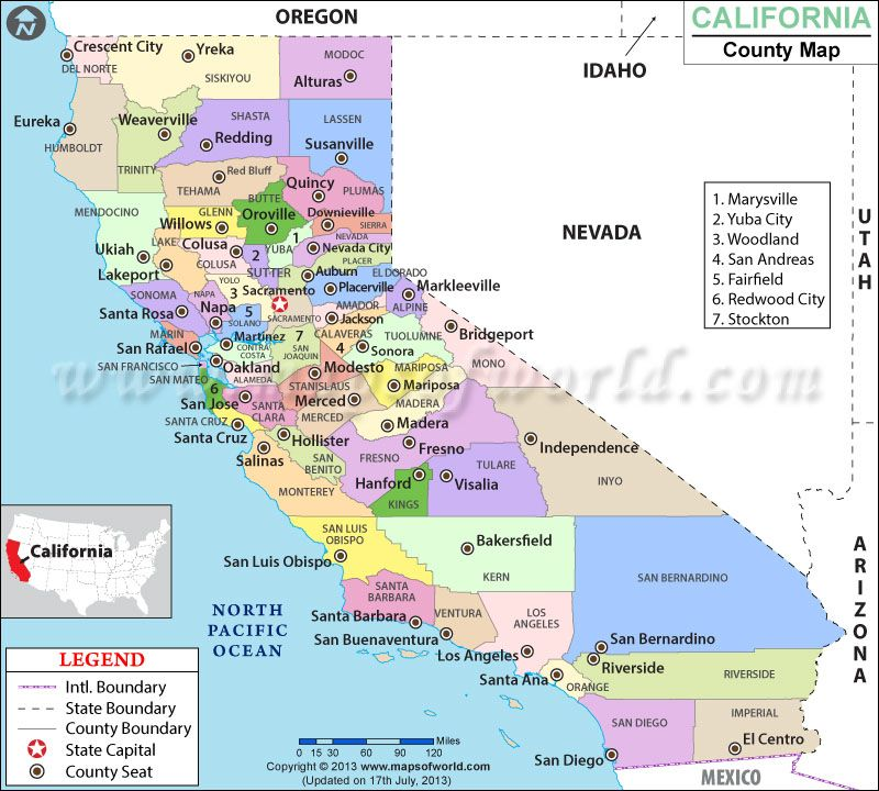 Counties In California County Map
