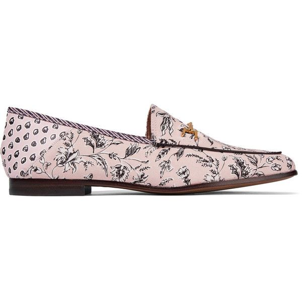 Sam Edelman Loraine leather-trimmed printed canvas loafers (635 GTQ) ❤ liked on Polyvore featuring shoes, loafers, antique rose, floral flats, flat pumps, canvas shoes, slip on loafers and sam edelman flats