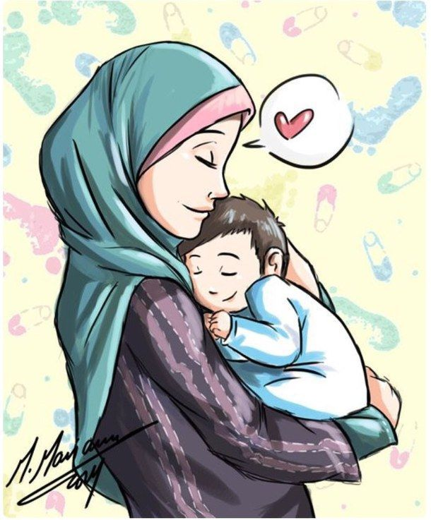 Image Result For Mother Cartoon Images With Scarf Anime Muslim Islamic Cartoon Mother Daughter Art