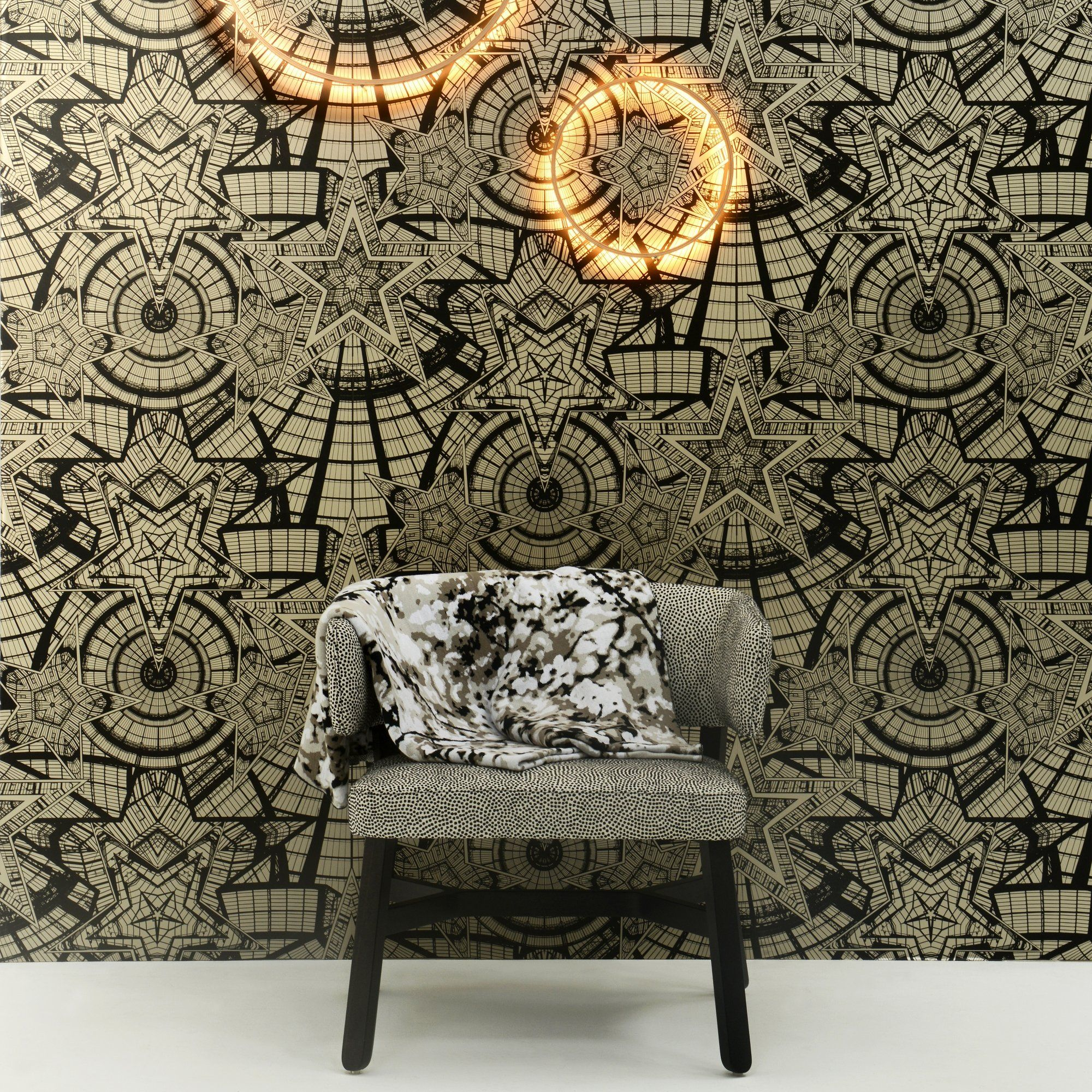 un papier peint graphique mordor avec des formes. Black Bedroom Furniture Sets. Home Design Ideas
