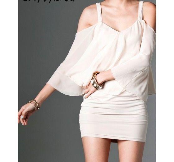Apricot Off Shoulder Sexy Dress - XS