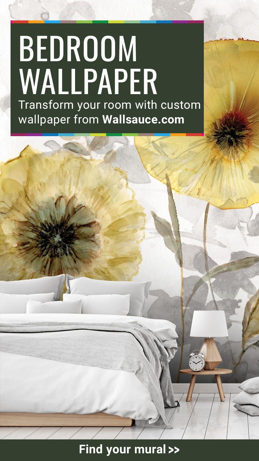 Transparent Gold Wall Mural Wallsauce Nz Floral Wallpaper Bedroom Floral Bedroom Custom Wall Murals