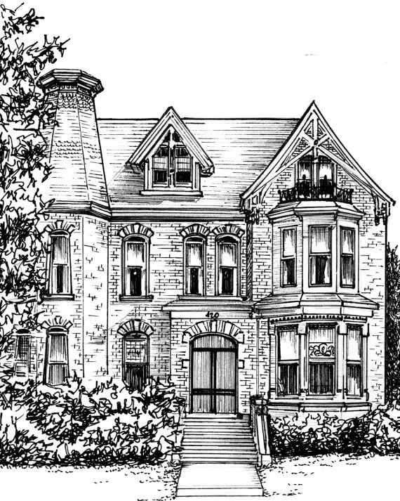 Custom House Portrait In Ink Architectural Home Rendering Etsy Custom House Portrait Simple House Drawing House Drawing
