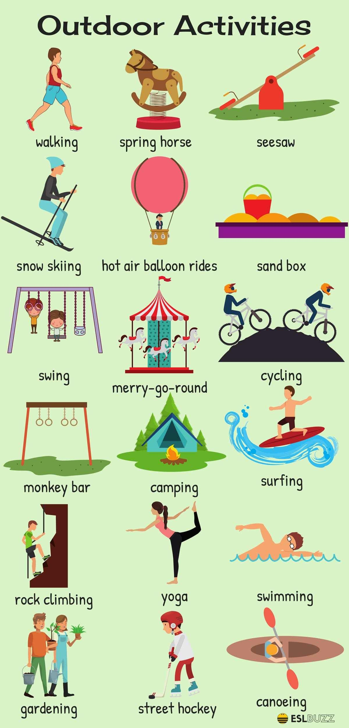 outdoor activities vocabulary in english english usages english rh pinterest com