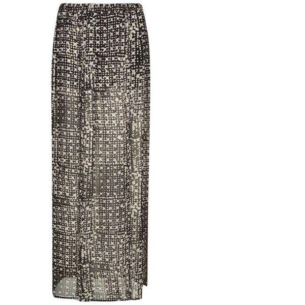 Michael Michael Kors Mandera Slit Skirt (£47) ❤ liked on Polyvore featuring skirts, black, slit skirt, see through skirt, elastic waist skirt, slit maxi skirt and long sheer skirt