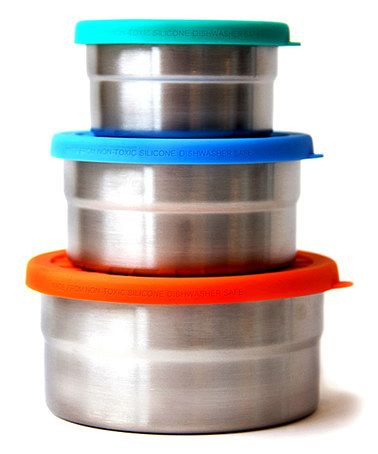 Look what I found on #zulily! Blue Water Steel & Silicone Bento Seal Cup Trio Container Set #zulilyfinds