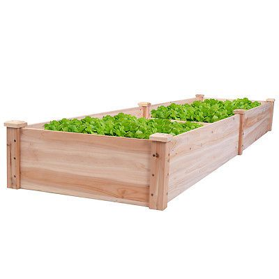 Yard Lawn Natural BCP 8x2ft Elevated Wooden Garden Bed Planter for Garden
