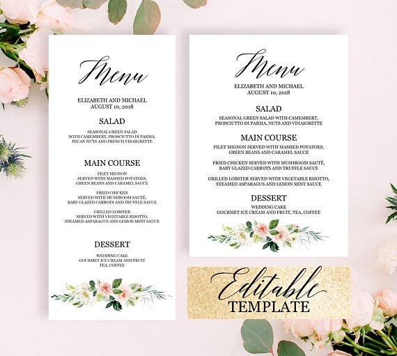wedding menu template 4x9 5x7 edit yourself bridal shower menu template printable menu cards blush pink greenery wedding menu download