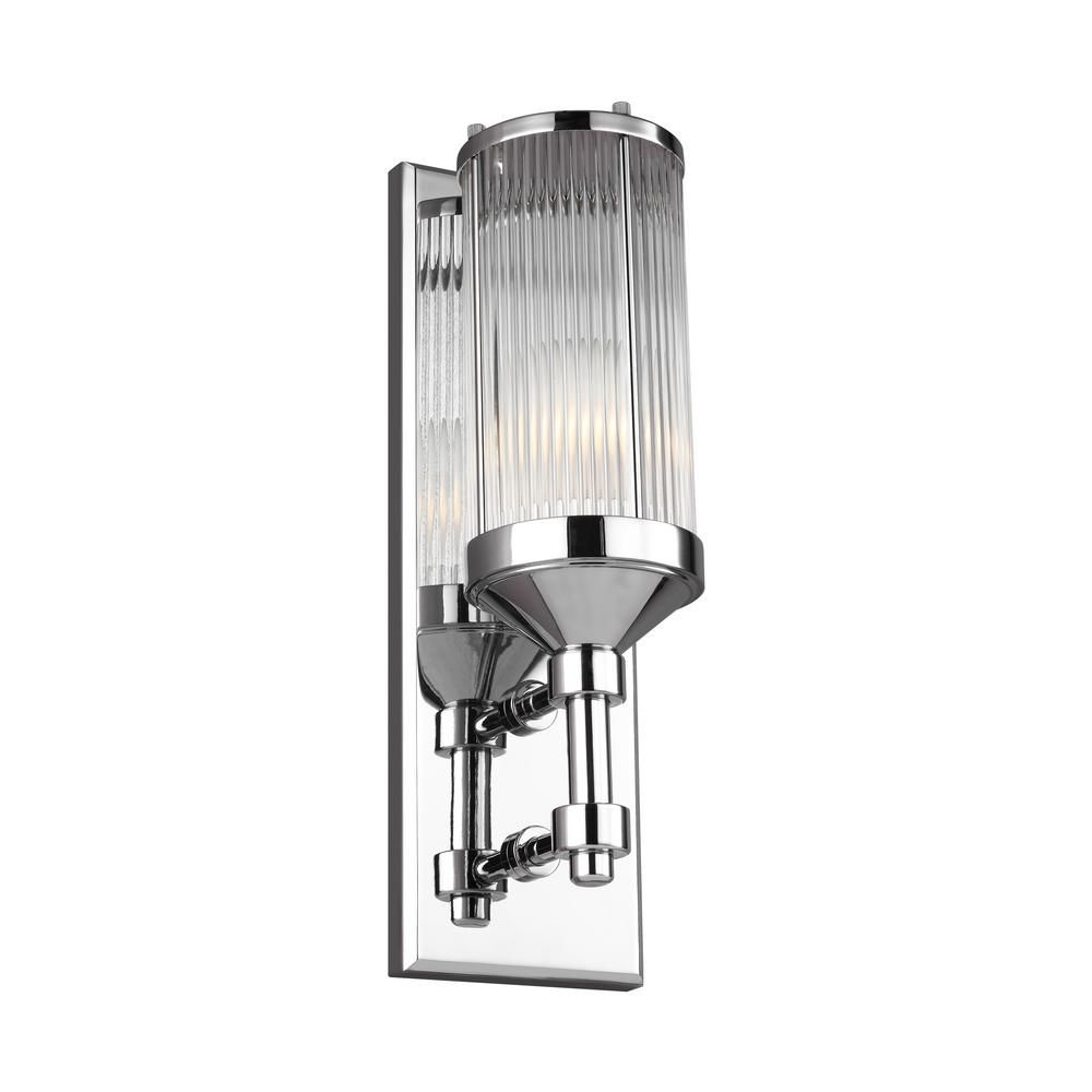 feiss paulson 4 75 in w 1 light chrome wall sconce products rh pinterest com
