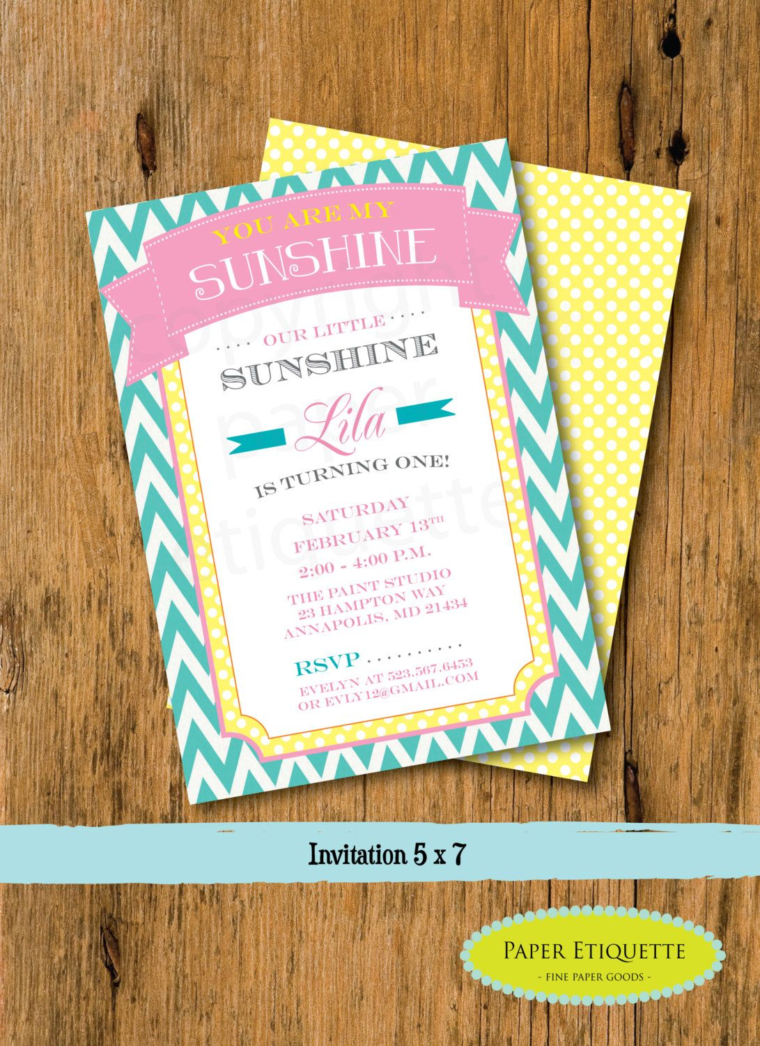 you are my sunshine birthday or baby shower invitations print
