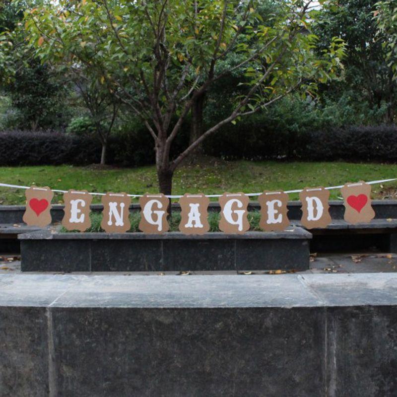 1Set ENGAGED Letter Bunting Flags GarlandBanner Photo