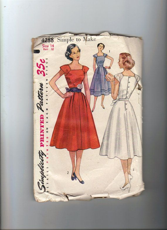 Vintage Sewing Pattern - 1950\'s Simple To Make Dress - Simplicity ...