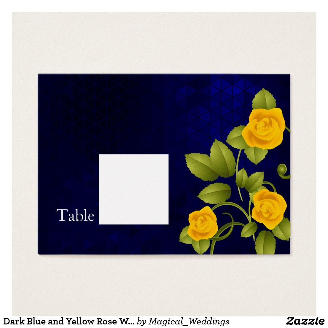 Dark Blue and Yellow Rose Wedding Business Card Escort Cards. Dark ...