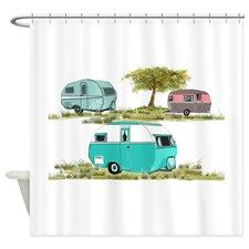 RV Vintage Travel Trailers Shower Curtain for