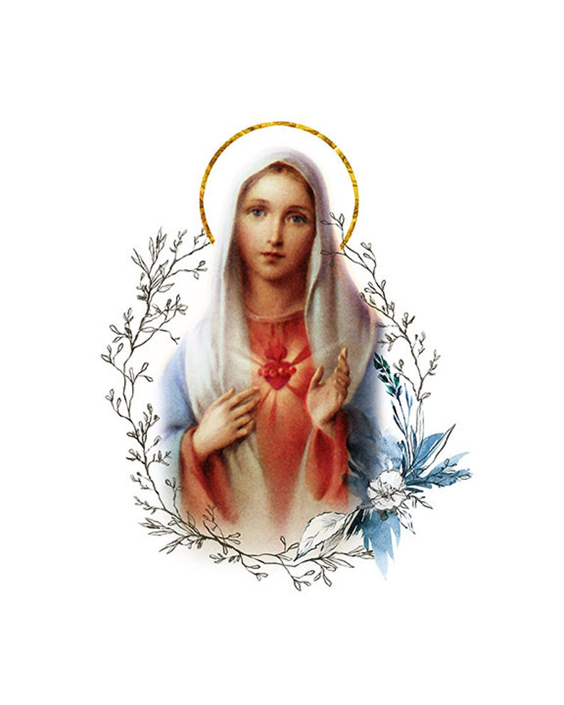 Immaculate Heart Of Mary Printable Catholic Image Blessed Virgin Mary Illustration Art Marian Devotion Wall Art By Benedictaboutique Mother Mary Images Catholic Images Catholic Art