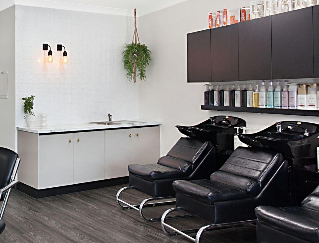 black grey and white hair salon provides a touch of modern vintage rh pinterest com
