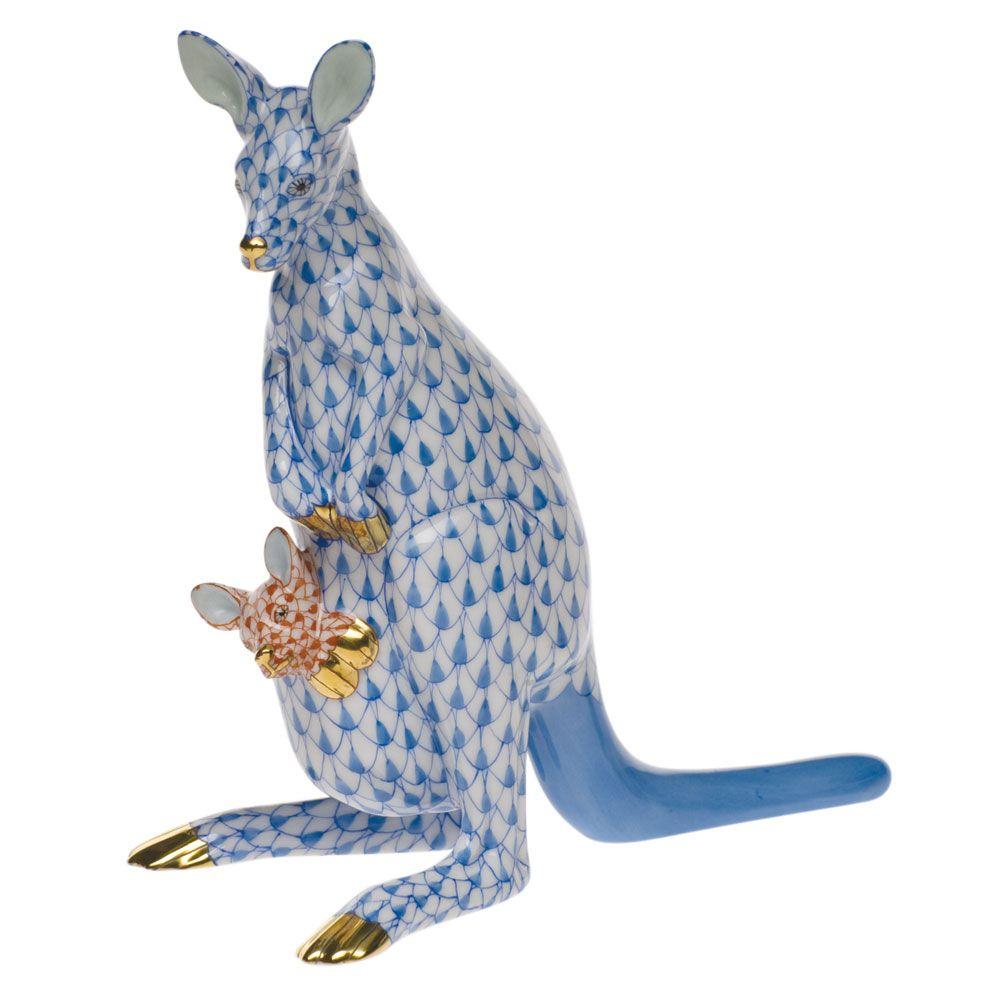 Herend Kangaroo Hand Painted Porcelain Figurine In Pink: Herend Porcelain Fishnet Figurine Of A Kangaroo & Baby