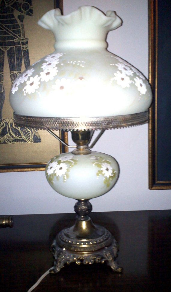 Fenton Satin Custard Lamp Lamp
