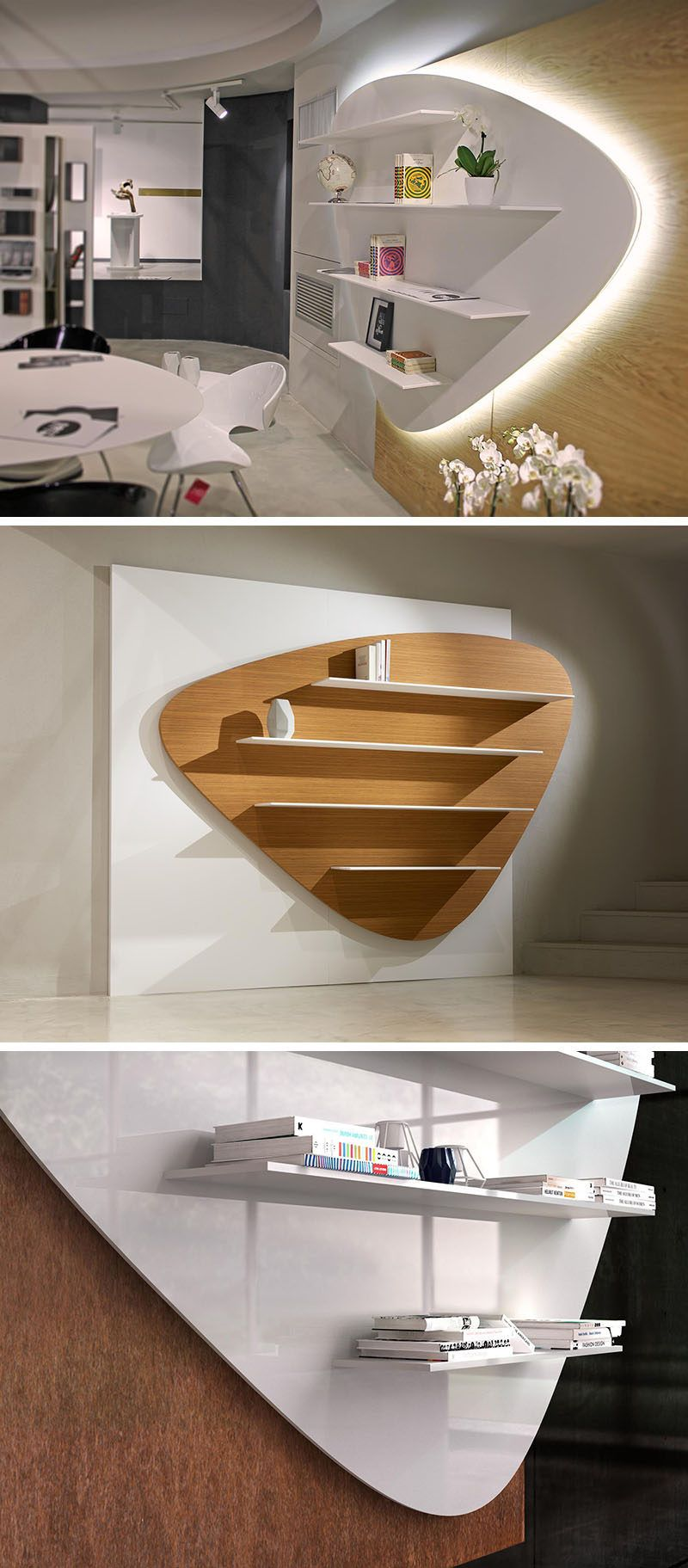 the curved shape of this bookshelf was inspired by smooth rocks rh pinterest com