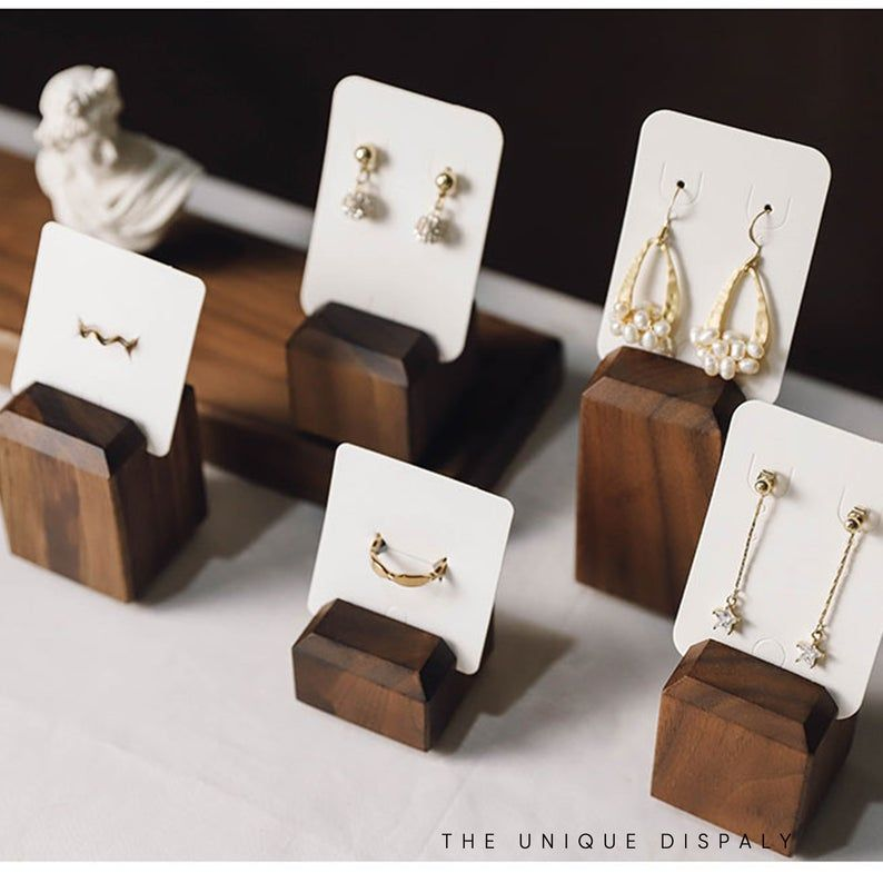 Jewelry Earring Holder Organizer Display Stand Studs Wooden Wood